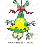 Cartoon Vector of a Frog Hanging Upside down with Mistletoe on Christmas by Toonaday