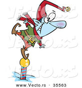 Cartoon Vector of a Frozen Christmas Elf Standing on North Pole While Keeping a Look out by Toonaday