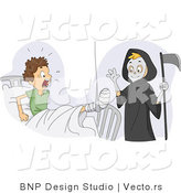 Cartoon Vector of a Funny Grim Reaper Boy Scaring His Injured Friend in a Medical Hospital by BNP Design Studio
