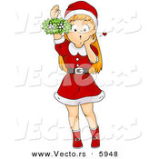 Cartoon Vector of a Girl Holding Christmas Mistletoe by BNP Design Studio