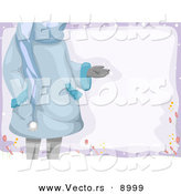Cartoon Vector of a Girl Holding Hand out over Blank Sign Outside in Winter Weather by BNP Design Studio