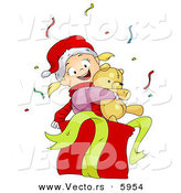 Cartoon Vector of a Girl Hugging Christmas Teddy Bear in a Gift Box by BNP Design Studio