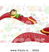 Cartoon Vector of a Girl on a Merry Scarf over Bubbles for Christmas by BNP Design Studio