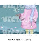 Cartoon Vector of a Girl Standing Catching a Snowflake in Her Hand by BNP Design Studio