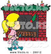 Cartoon Vector of a Girl Waiting for Santa to Crawl down the Fireplace by Toonaday