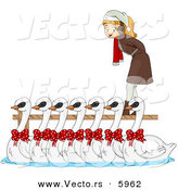 Cartoon Vector of a Girl with Seven Swans a Swimming for Christmas by BNP Design Studio