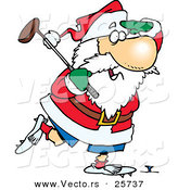 Cartoon Vector of a Golfing Santa by Toonaday
