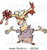 Cartoon Vector of a Goofy Man with a Red Present Bow on His Nose by Toonaday