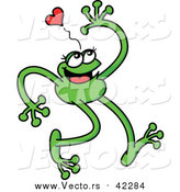 Cartoon Vector of a Green Love Frog with Long Arms and Legs by Zooco