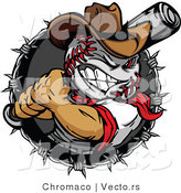 Cartoon Vector of a Grinning Baseball Cowboy Batting Within Barbed Wire Circle Icon by Chromaco