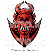 Cartoon Vector of a Grinning Cartoon Devil Staring with Intimidating Red Eyes by Chromaco