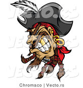 Cartoon Vector of a Grinning Cartoon Pirate with Gold Tooth by Chromaco