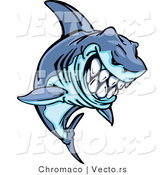 Cartoon Vector of a Grinning Cartoon Shark Mascot Leaping out of Water by Chromaco