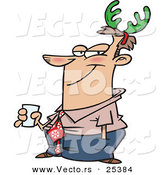 Cartoon Vector of a Guy Wearing Green Christmas Antlers on His Head by Toonaday