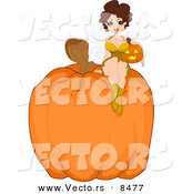 Cartoon Vector of a Halloween Fairy Pinup Girl Sitting on a Giant Pumpkin by BNP Design Studio