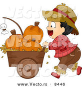 Cartoon Vector of a Halloween Farmer Boy Pusking a Cart Full of Pumpkins by BNP Design Studio
