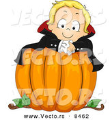 Cartoon Vector of a Halloween Vampire Boy on a Large Pumpkin by BNP Design Studio