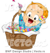 Cartoon Vector of a Happy Baby Boy Painting Easter Eggs in a Basket by BNP Design Studio