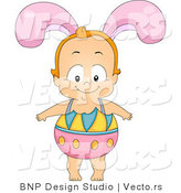 Cartoon Vector of a Happy Baby Boy Wearing Easter Egg Costume with Bunny Ears by BNP Design Studio