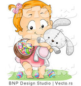 Cartoon Vector of a Happy Baby Girl Carrying a Basket of Eggs and a Rabbit by BNP Design Studio