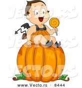 Cartoon Vector of a Happy Baby Halloween Devil Boy Sitting on a Large Pumpkin by BNP Design Studio