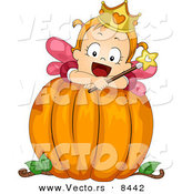 Cartoon Vector of a Happy Baby Halloween Fairy Girl on a Big Pumpkin by BNP Design Studio