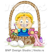 Cartoon Vector of a Happy Baby Painting Easter Eggs in a Basket by BNP Design Studio