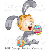 Cartoon Vector of a Happy Baby Wearing Bunny Costume While Playing with Easter Eggs by BNP Design Studio