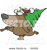 Cartoon Vector of a Happy Bear Carrying a Christmas Tree by Toonaday