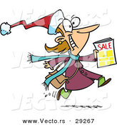 Cartoon Vector of a Happy Black Friday Shopper Running with Sale Ads by Toonaday