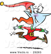 Cartoon Vector of a Happy Blue Female Christmas Elf Running Fast by Toonaday