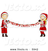 Cartoon Vector of a Happy Boy and Girl Holding out a Merry Christmas Banner by BNP Design Studio