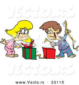 Cartoon Vector of a Happy Boy and Girl Opening Christmas Presents by Toonaday
