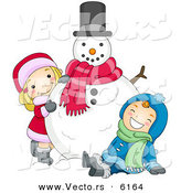 Cartoon Vector of a Happy Boy and Girl Playing with Christmas Snowman by BNP Design Studio