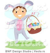 Cartoon Vector of a Happy Boy Carrying Easter Basket Full of Eggs by BNP Design Studio