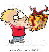 Cartoon Vector of a Happy Boy Holding Present by Toonaday