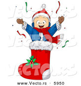 Cartoon Vector of a Happy Boy in Christmas Stocking by BNP Design Studio