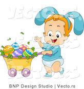 Cartoon Vector of a Happy Boy Pushing Cart Full of Easter Eggs by BNP Design Studio