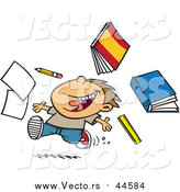 Cartoon Vector of a Happy Boy Tossing School Supplies While Running by Toonaday