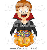 Cartoon Vector of a Happy Boy Trick-or-Treating As a Vampire by BNP Design Studio