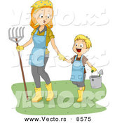 Cartoon Vector of a Happy Boy Walking with His Mom While Carrying Garden Tools by BNP Design Studio