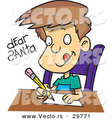 Cartoon Vector of a Happy Boy Writing Letter to Santa by Toonaday