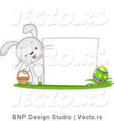 Cartoon Vector of a Happy Bunny Beside Blank Easter Sign by BNP Design Studio