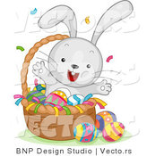 Cartoon Vector of a Happy Bunny Celebrating Easter in a Basket with Eggs by BNP Design Studio