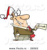 Cartoon Vector of a Happy Businessman with Christmas Bonus and Santa Hat by Toonaday