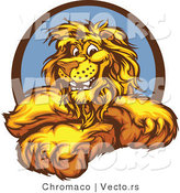 Cartoon Vector of a Happy Cartoon Lion Mascot by Chromaco
