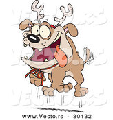 Cartoon Vector of a Happy Christmas Bulldog Wearing Reindeer Antlers by Toonaday