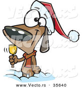 Cartoon Vector of a Happy Christmas Dog Ringing a Bell for Donations by Toonaday