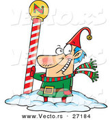Cartoon Vector of a Happy Christmas Elf Beside the North Pole by Toonaday
