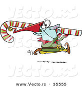 Cartoon Vector of a Happy Christmas Elf Carrying Big Candy Cane by Toonaday